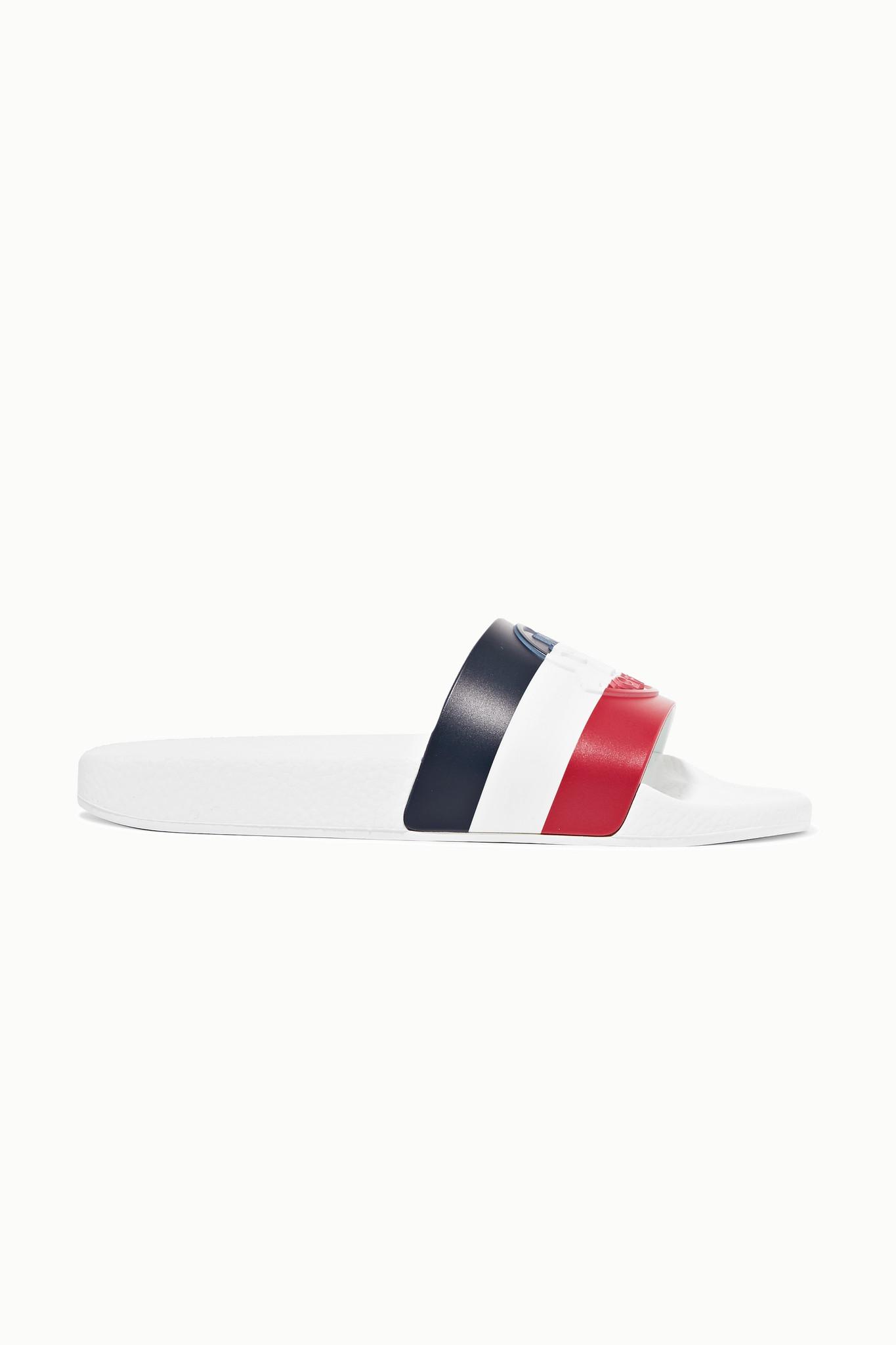 MONCLER - 条纹橡胶拖鞋 - 白色 - IT36