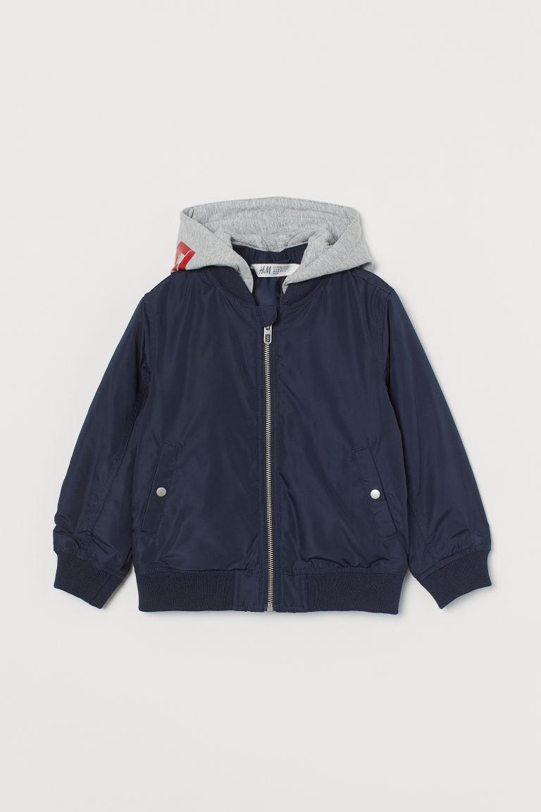 H & M - 連帽飛行員外套 - 藍色