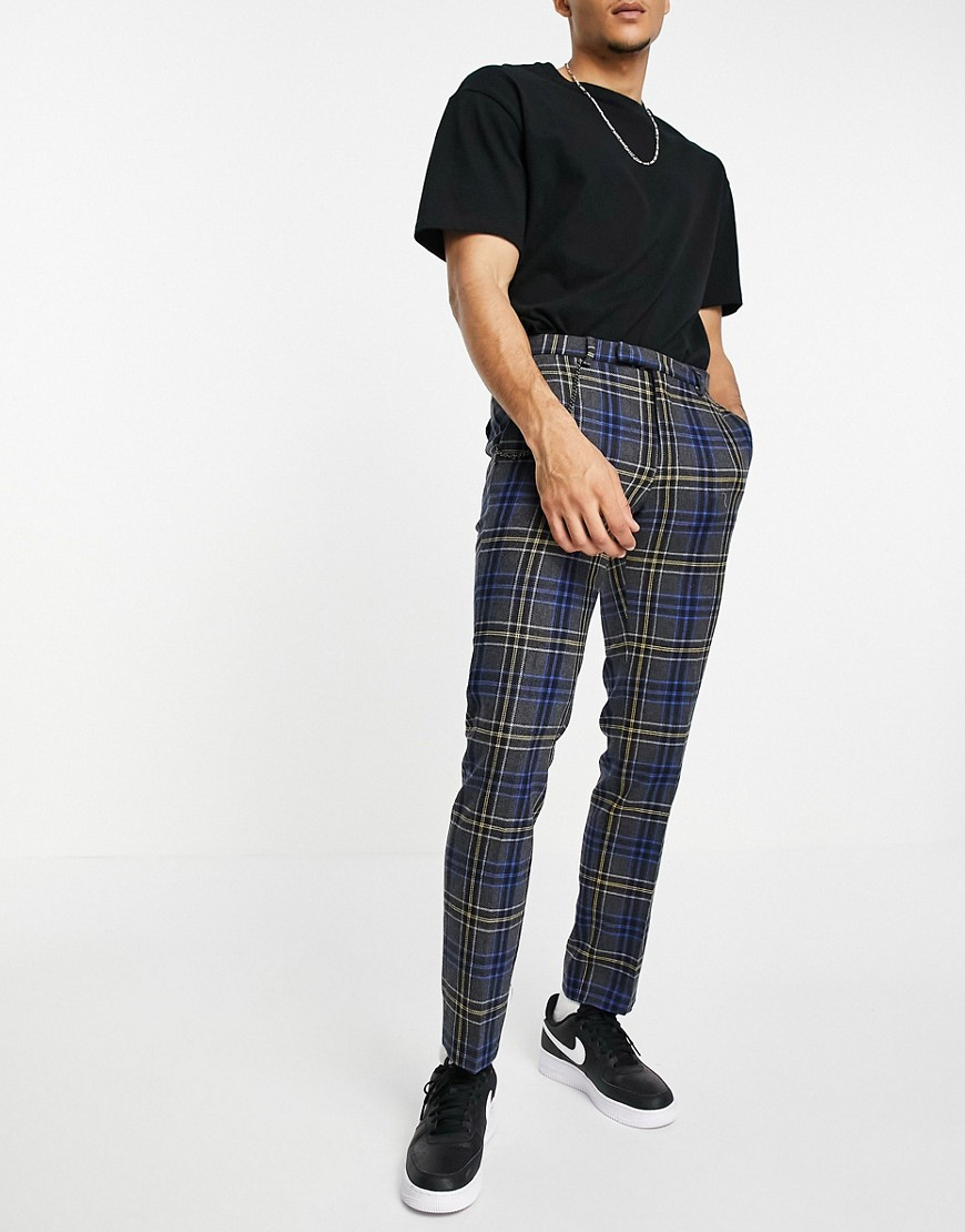 Twisted Tailor trousers in grey yellow black check-Blue