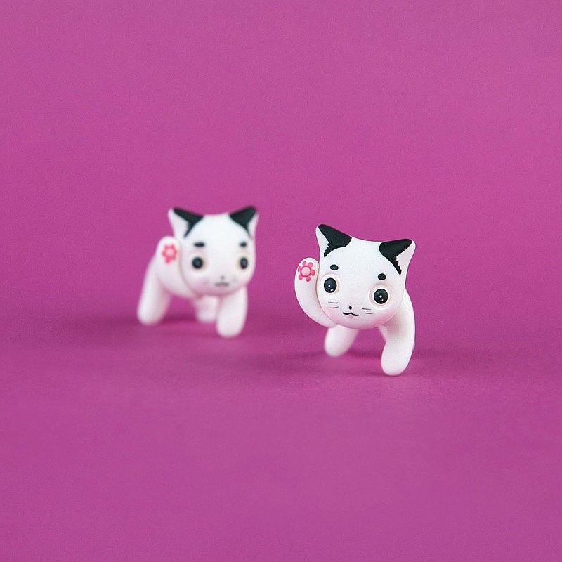 花幸運貓咪耳環-手工製作和手繪的聚合物黏土飾品