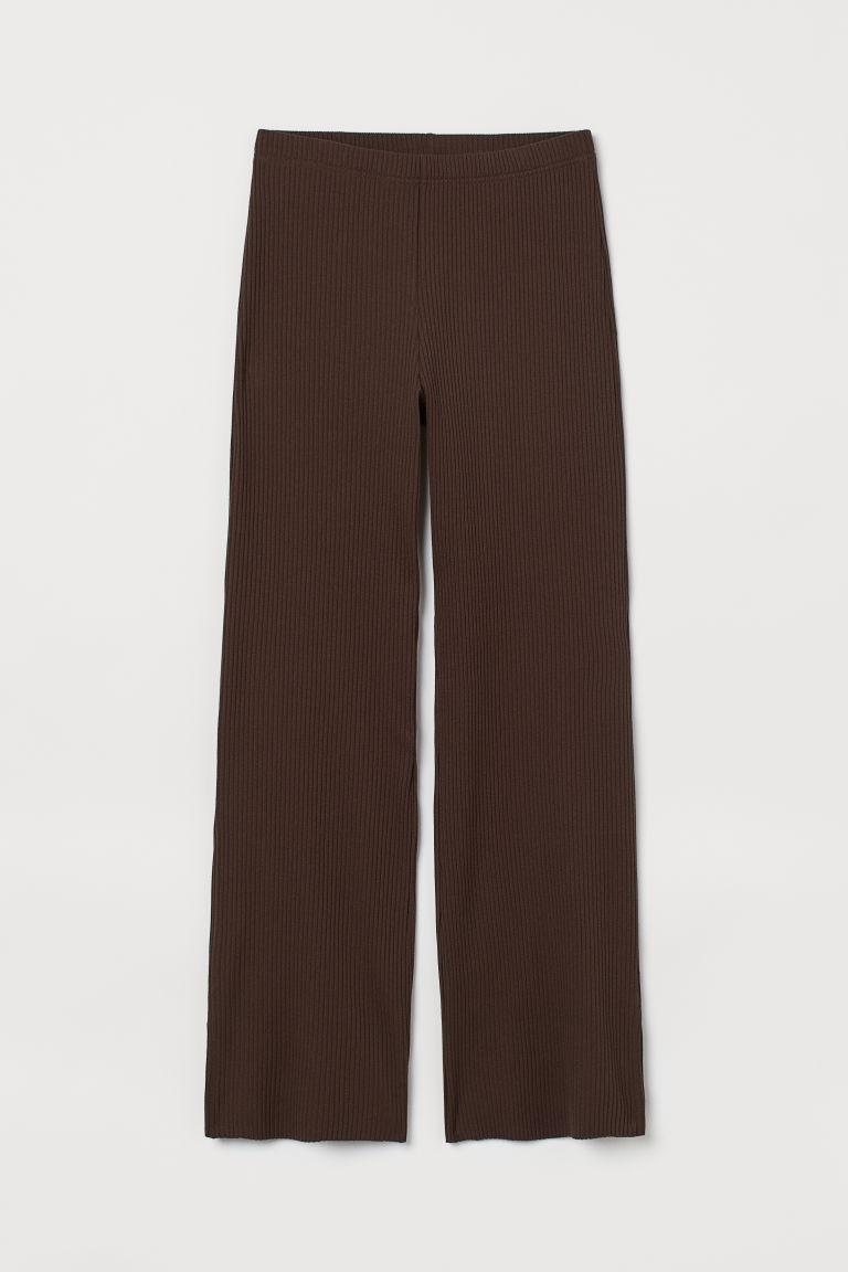H & M - 羅紋長褲 - 褐色