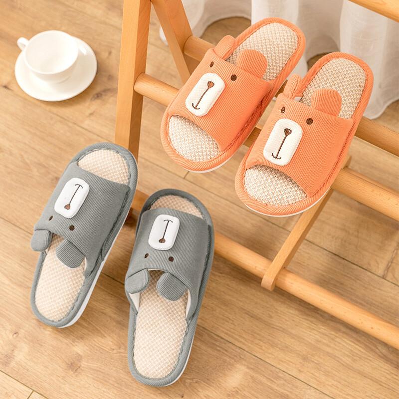 [bunny life]小熊造型亞麻居家室內拖鞋