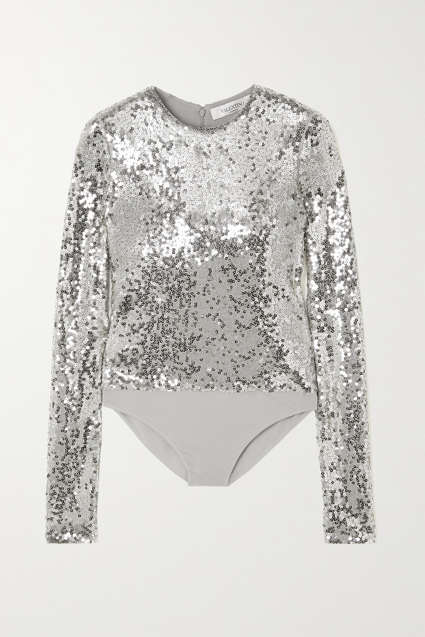 VALENTINO - Sequined Jersey Bodysuit - Silver - medium
