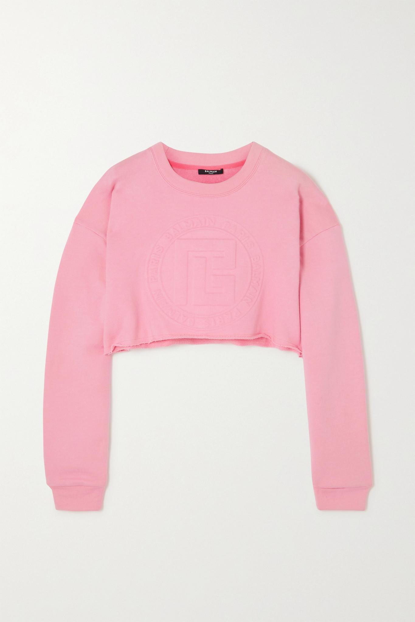 BALMAIN - 压花棉质羊绒混纺短款卫衣 - 粉红色 - small