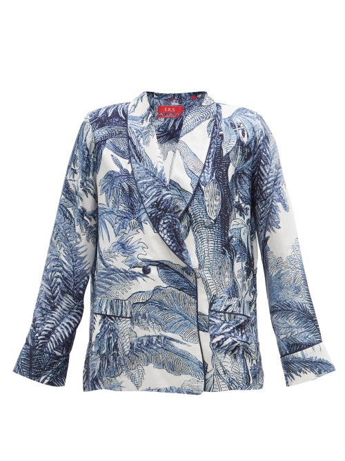 F.r.s - For Restless Sleepers - Ate Double-breasted Crepe Pyjama Jacket - Womens - Blue Print