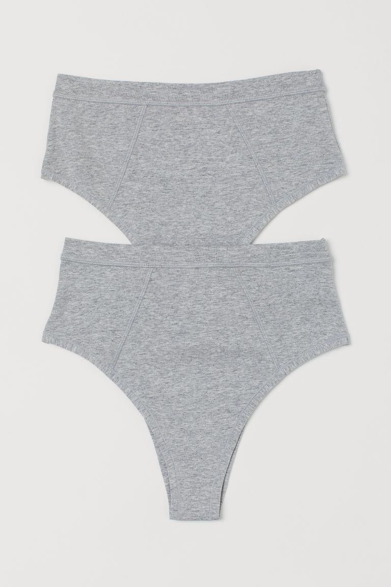 H & M - Brazililan 2件入平紋內褲 - 灰色