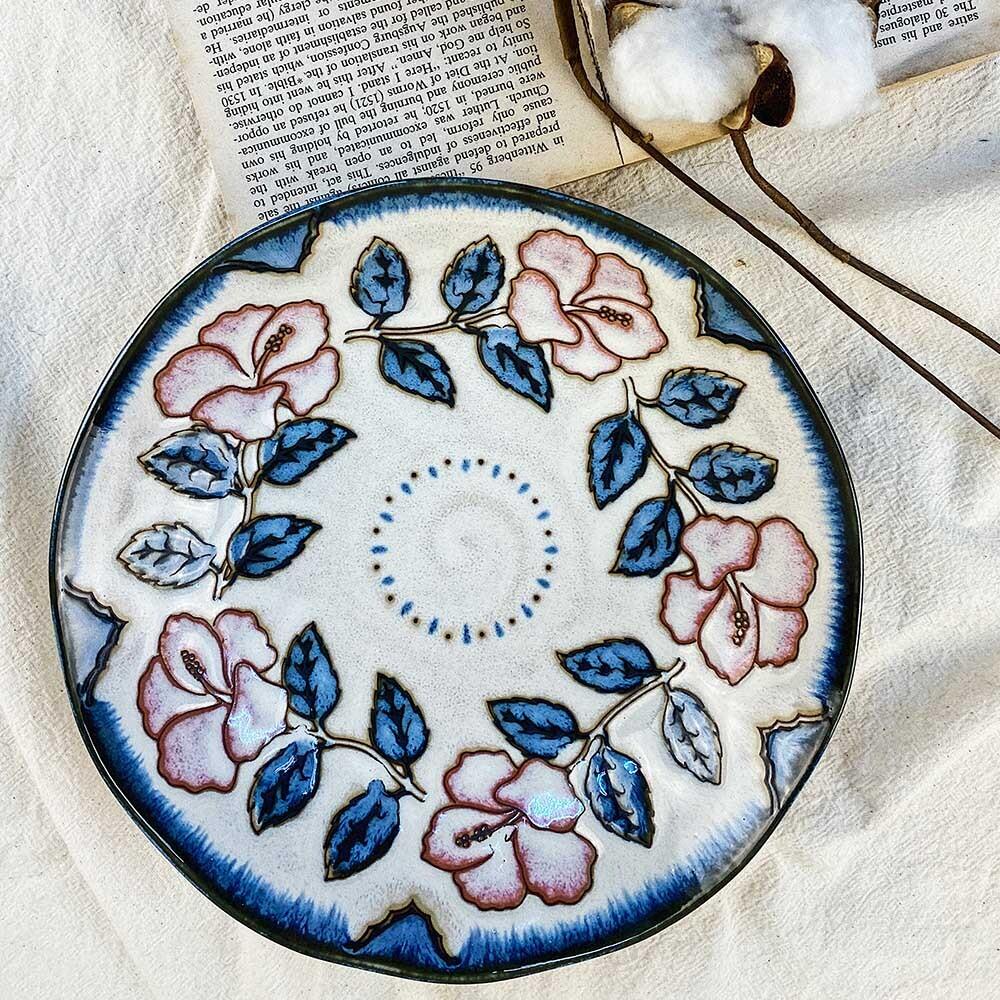 日式盤 手工復古藍玫瑰 日本盤8吋深盤 盤子 深盤 沙拉盤 擺盤
