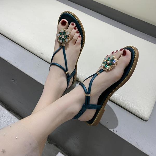 沙灘鞋 2021夏涼鞋女平底防滑沙灘度假夾趾時尚女鞋百搭細帶波西米亞水鉆 歐歐
