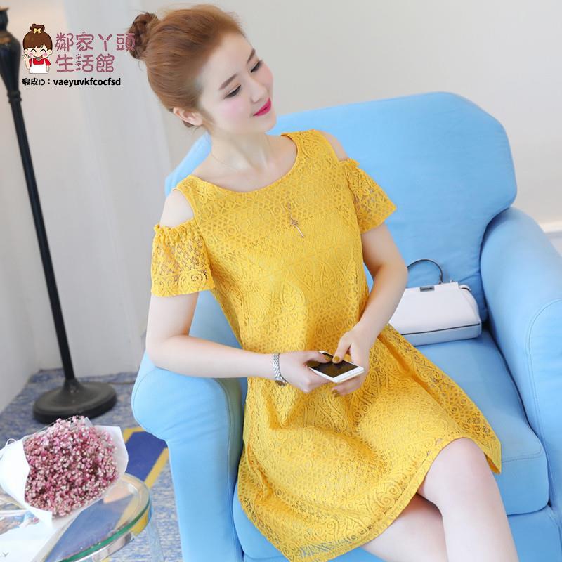 2021夏季新款大碼女裝遮肚子中長款顯瘦露肩膀短袖純色蕾絲連衣裙【2021新款洋裝】