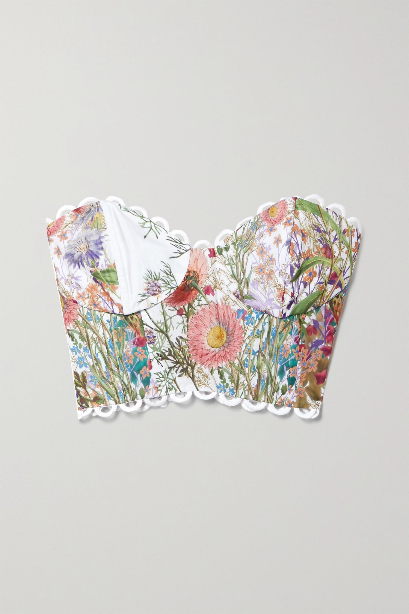 CHARO RUIZ - Lita 环孔缝边花卉印花纯棉抹胸上衣 - 白色 - small