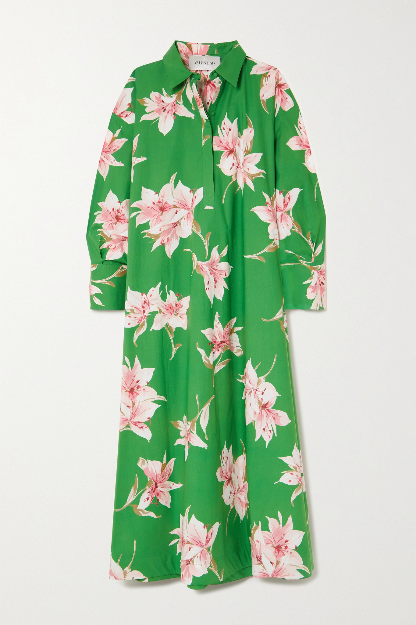 VALENTINO - 花卉印花纯棉府绸衬衫式超长连衣裙 - 绿色 - IT40