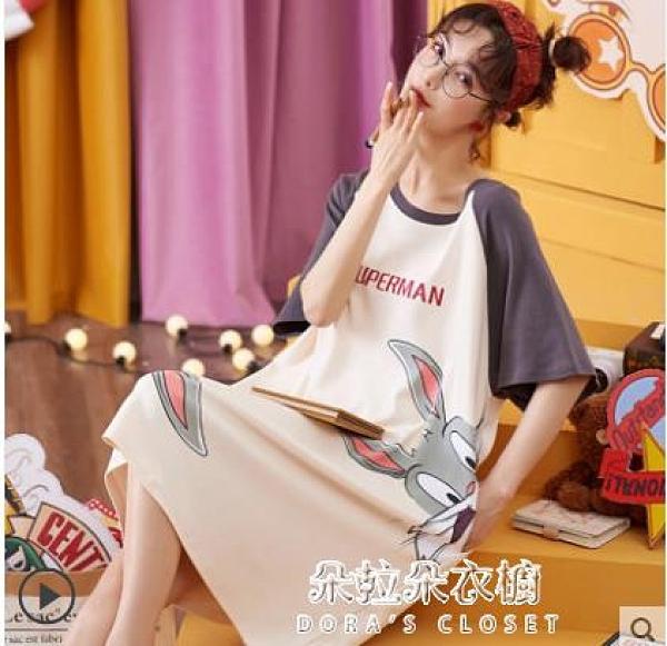 睡衣女 純棉睡裙女夏季韓版學生可愛薄款短袖寬松孕婦睡衣夏天公主