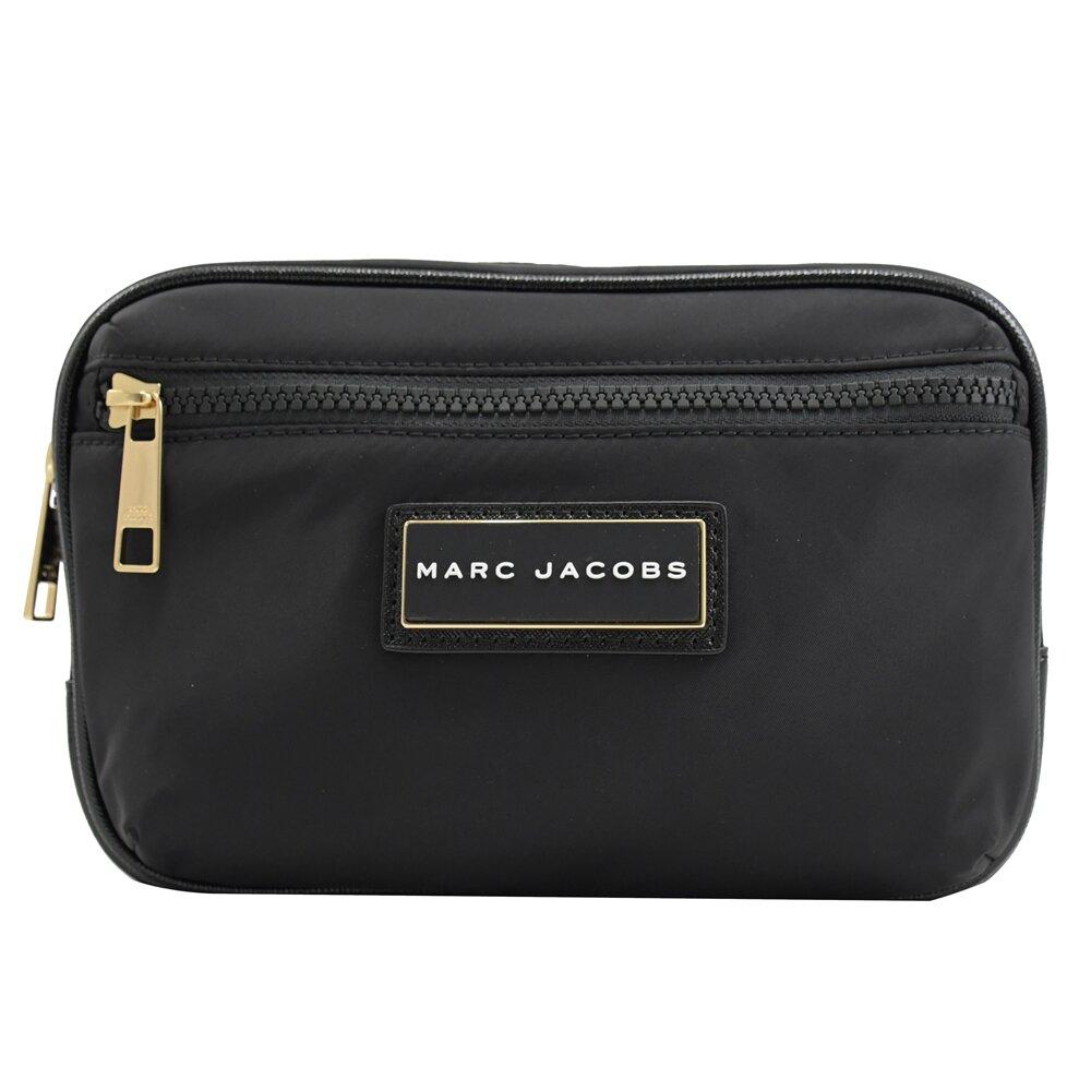 MARC JACOBS 馬克賈伯 專櫃商品 方牌LOGO 簡約尼龍胸口腰包.黑