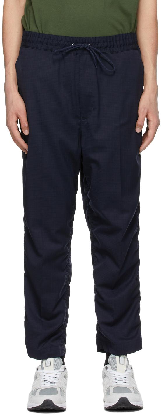 Junya Watanabe 海军蓝格纹羊毛长裤
