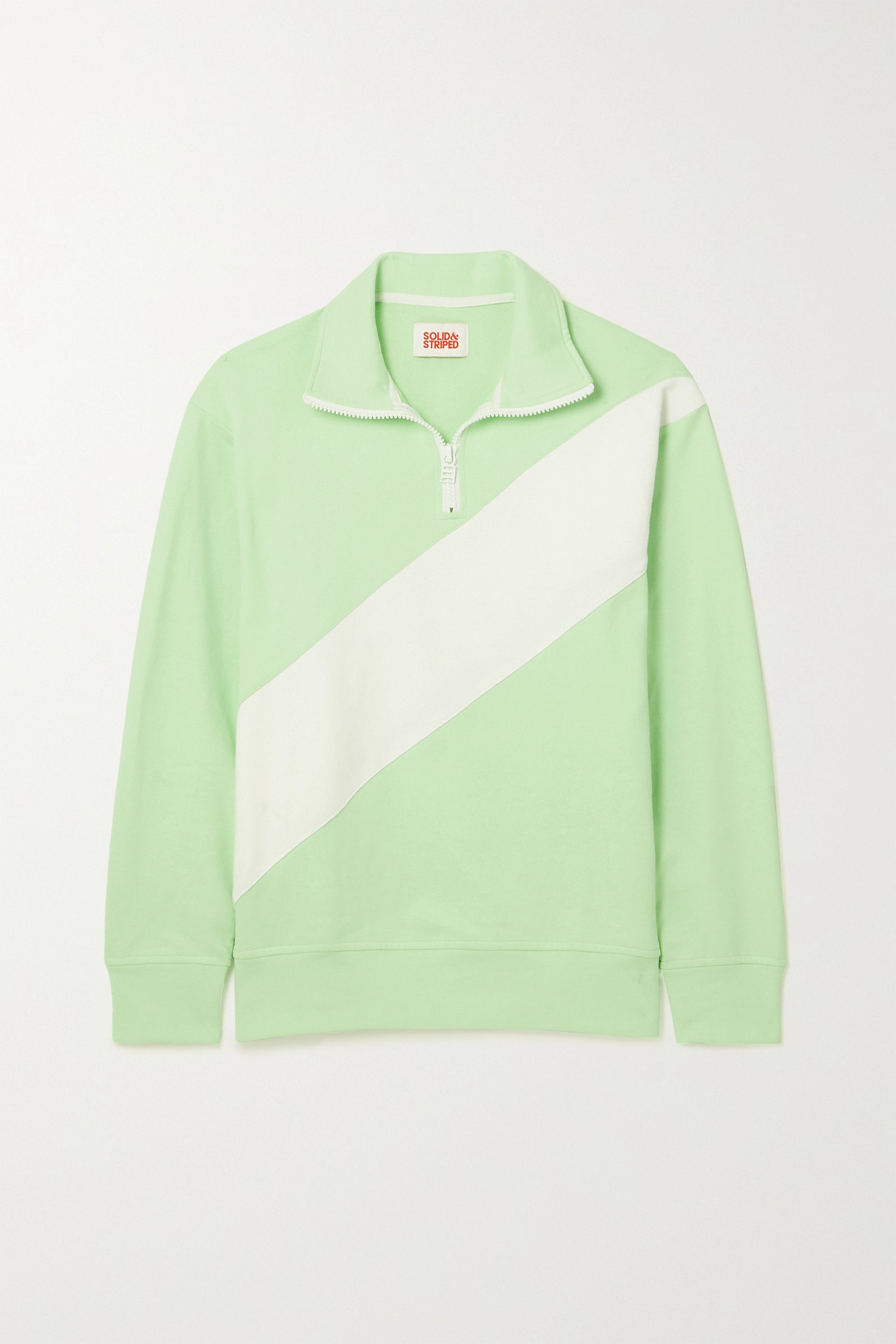 SOLID & STRIPED - The Pullover 双色棉质混纺毛巾布卫衣 - 绿色 - x large