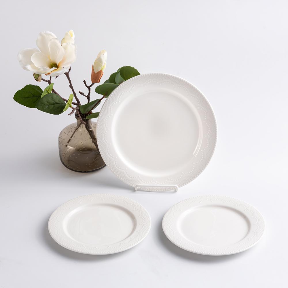 歐式 靜白浮雕 陶瓷圓盤|蕾絲|三件組