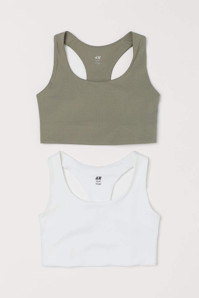 H & M - 2件入中度支撐運動內衣 - 綠色