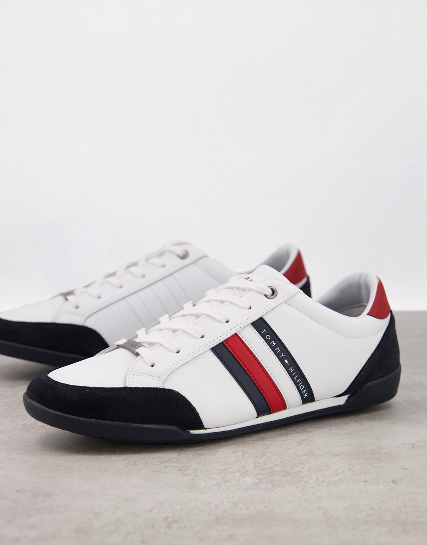 Tommy Hilfiger corporate material mix cupsole trainers in white