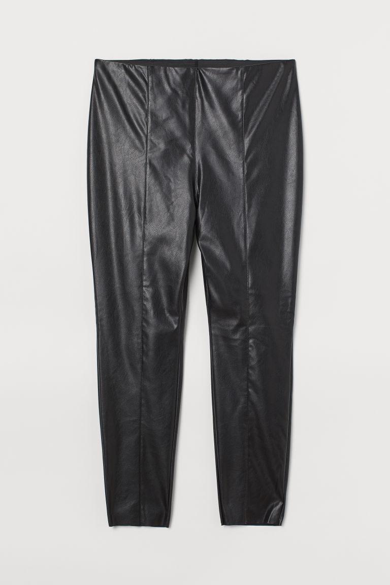 H & M - H & M+ 仿皮內搭褲 - 黑色