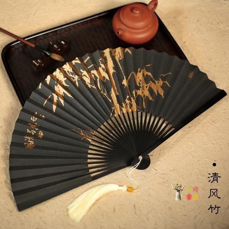 古風扇子 8寸30方 印刷男扇扇子折扇風油竹古風宣紙扇子戲曲扇