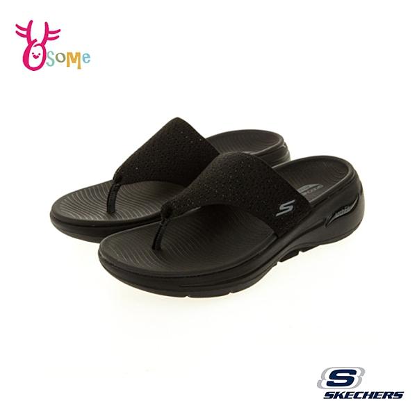Skechers拖鞋 女鞋 GOWALK ARCH FIT SANDAL 厚底拖鞋 涼拖鞋 人字拖 足弓鞋墊 運動拖鞋 V8260#黑色