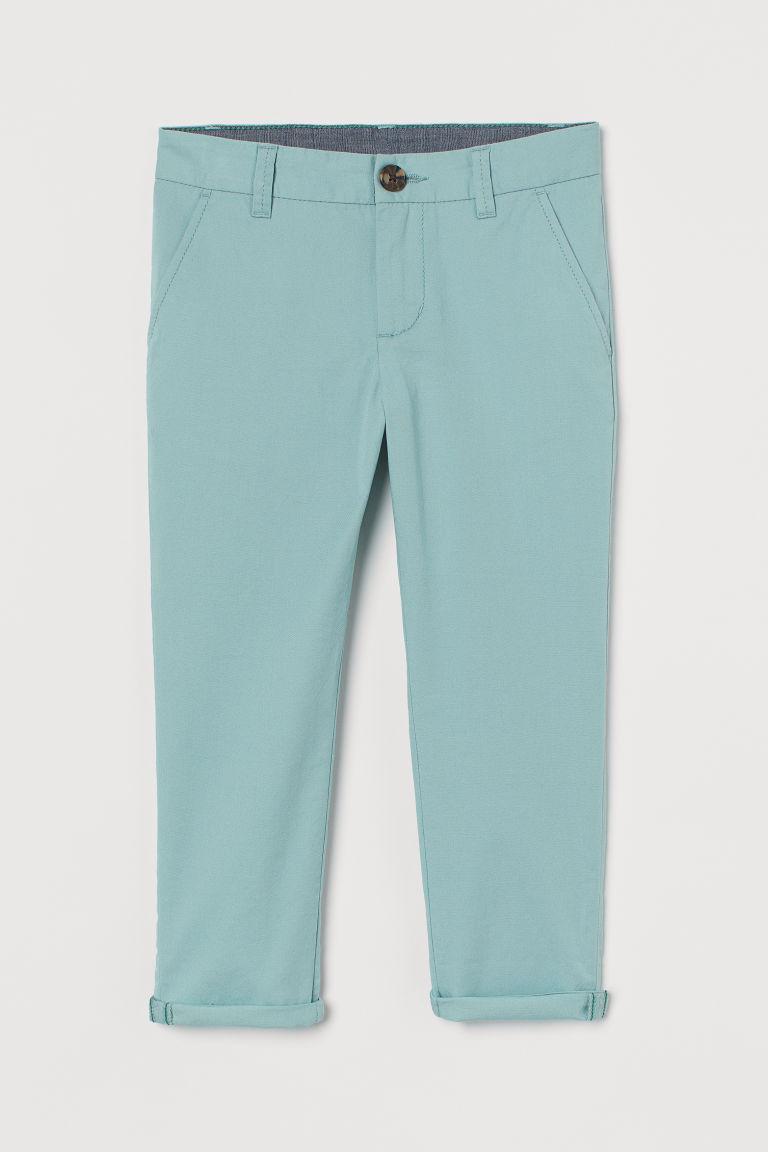 H & M - 棉質卡其褲 - 藍綠色