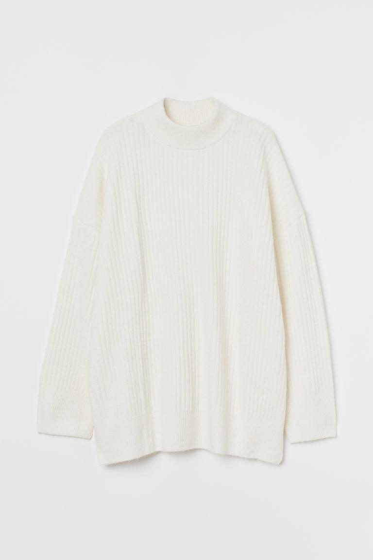 H & M - 羅紋針織套衫 - 白色