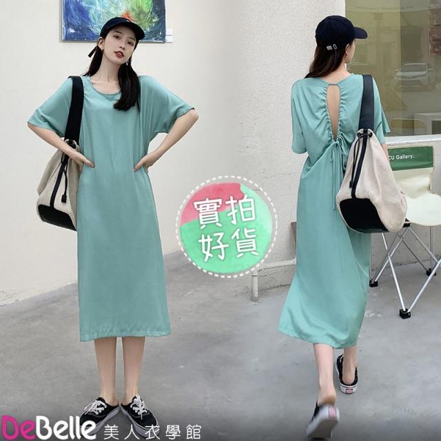 《DeBelle美人衣學館》夏新設計款背鏤空抽繩慵懶寬鬆純色短袖T恤連衣裙
