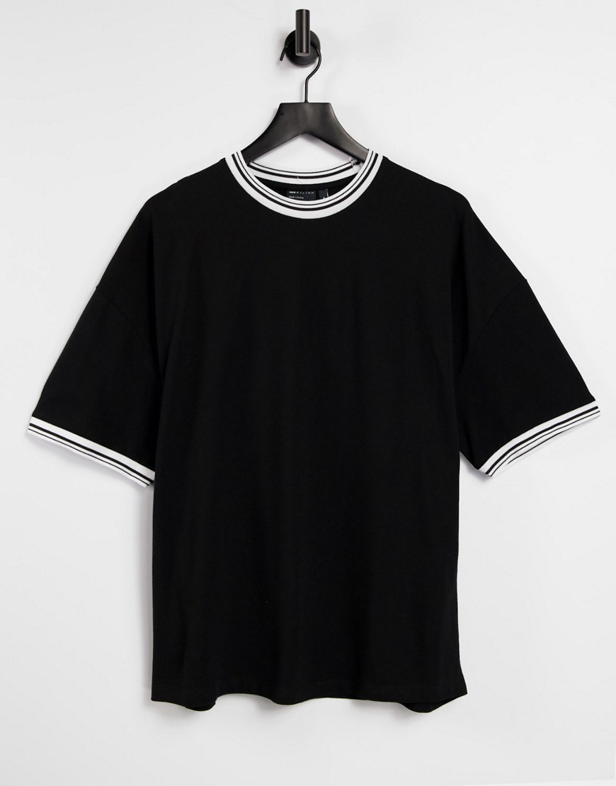ASOS DESIGN oversized t-shirt in black pique with contrast tipping