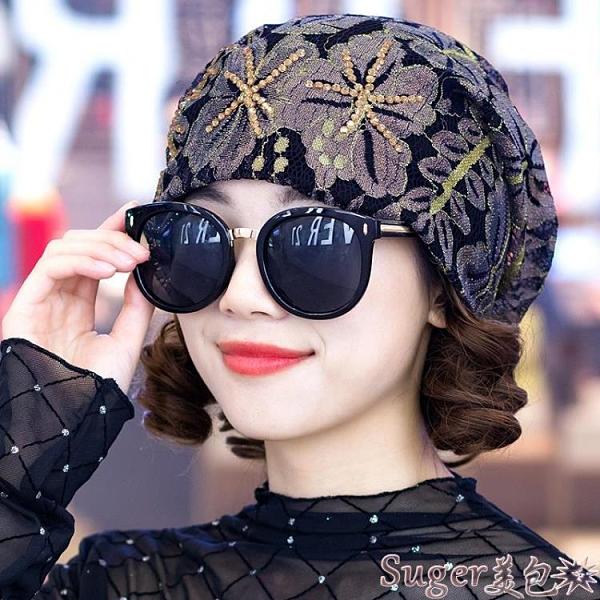 頭巾帽 帽子女春秋韓版蕾絲花朵包頭帽時尚休閒百搭頭巾帽光頭帽薄月子帽 suger