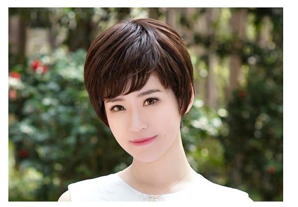 全頂式假髮 女 真髮 短髮 - 媽媽髮型 逼真假髮 中老年造型 整頭假髮【黑二髮品】OTRZ1