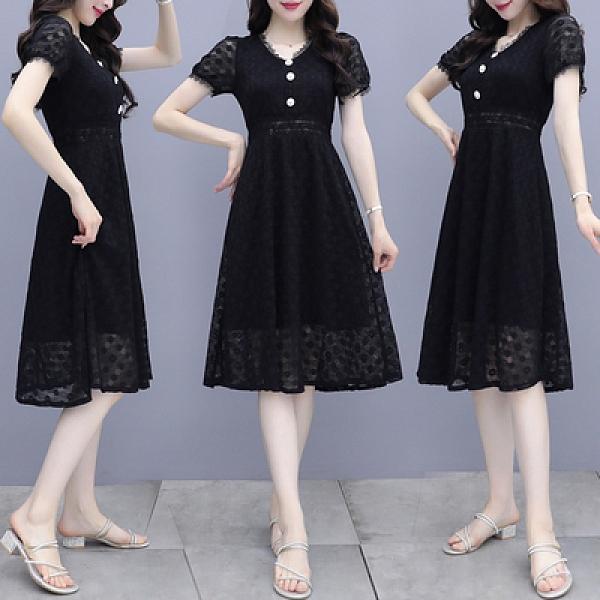 兩件套裝短袖夏季女神范時尚連衣裙長裙蕾絲爆款修身顯瘦裙子H362快時尚