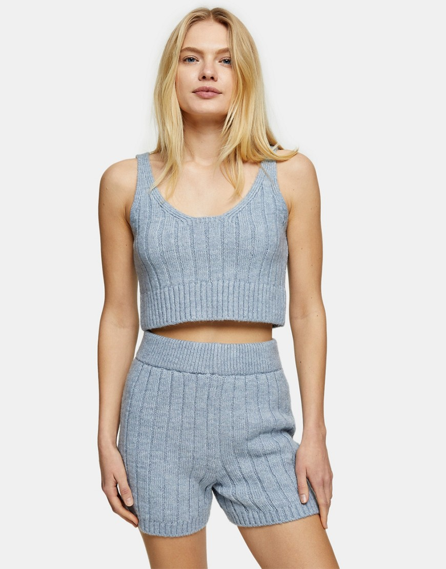 Topshop knitted rib cami-Blue
