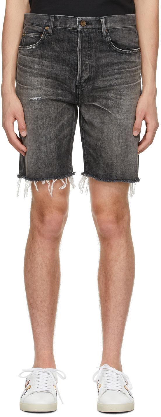 Saint Laurent 黑色 Straight 牛仔短裤