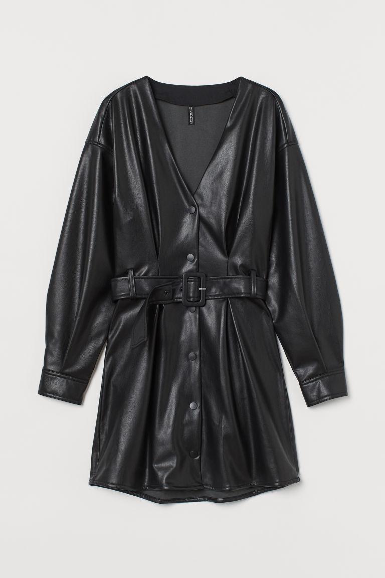 H & M - 仿皮洋裝 - 黑色