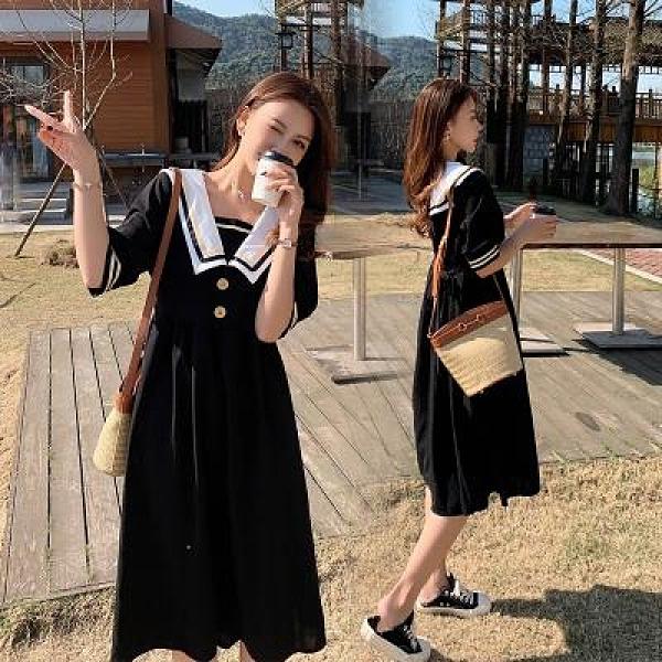 短袖洋裝寬鬆M-4XL~大碼女裝雪紡連身裙女溫柔風長裙胖mm收腰顯瘦氣質短袖裙子F3018韓衣裳