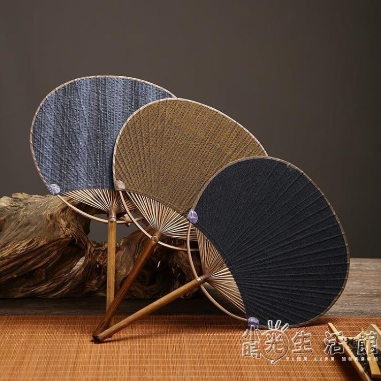 日式土布面竹蒲扇團扇竹芭蕉扇仿古典夏季圓文手老工藝古典紙扇子