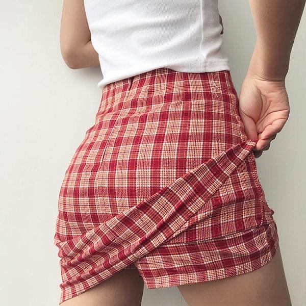 歐美格子包臀裙ins博主款防走光半身裙復古少女心高腰開叉短裙女 韓國時尚週