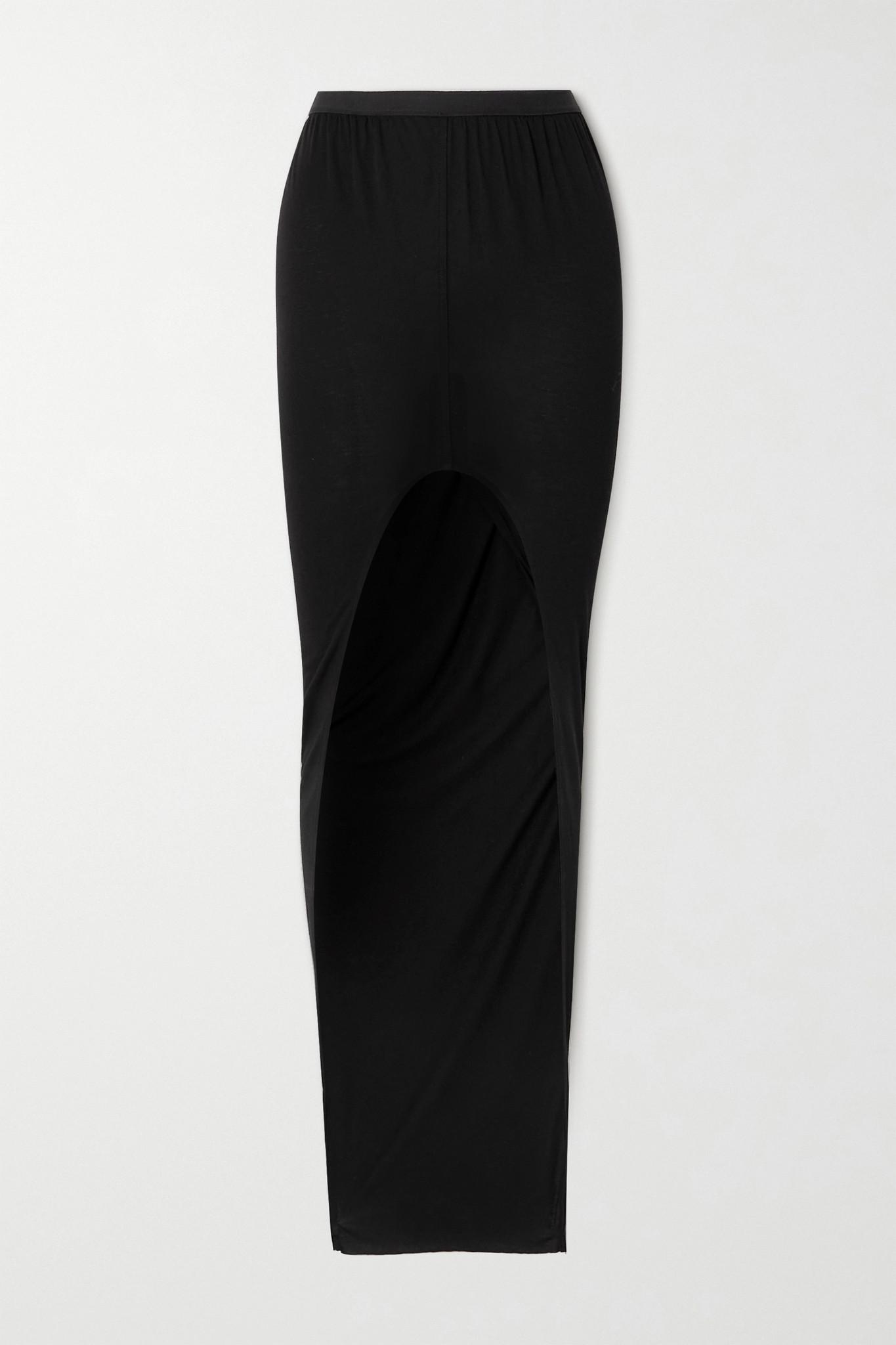 RICK OWENS - 不对称平纹布半身裙 - 黑色 - IT40