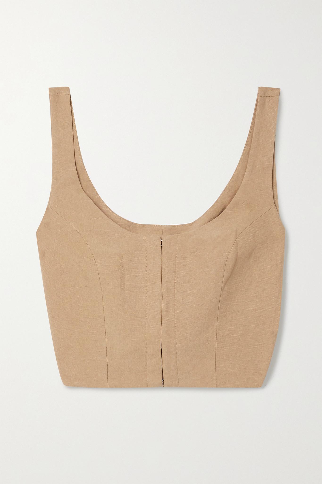 MARA HOFFMAN - 【net Sustain】aisha 天丝亚麻混纺短款上衣 - 棕色 - US2