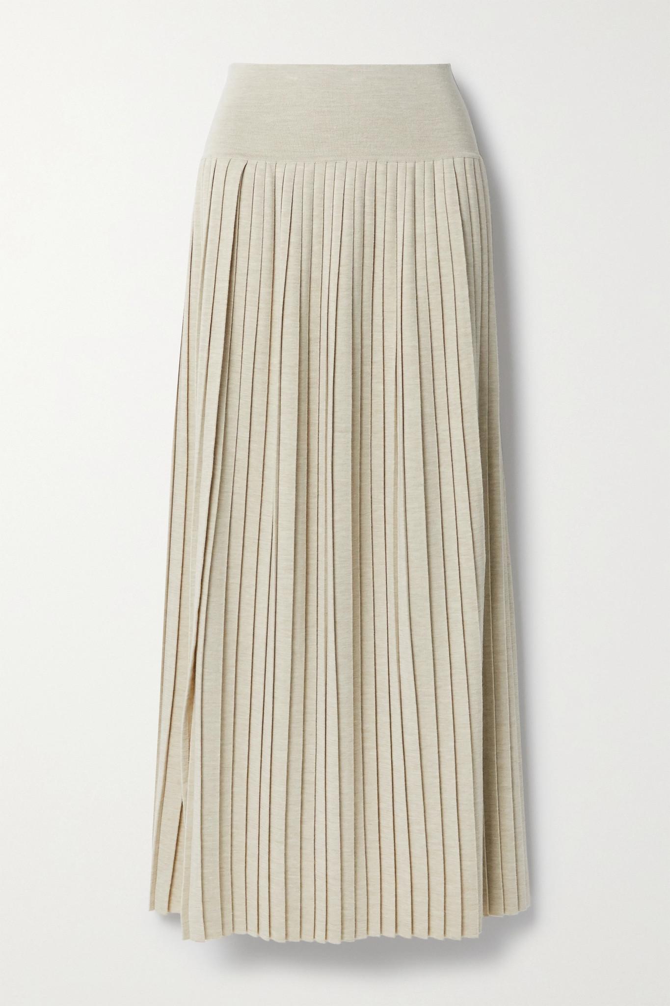 THE ROW - Coraline 褶裥羊毛真丝混纺超长半身裙 - 中性色 - medium