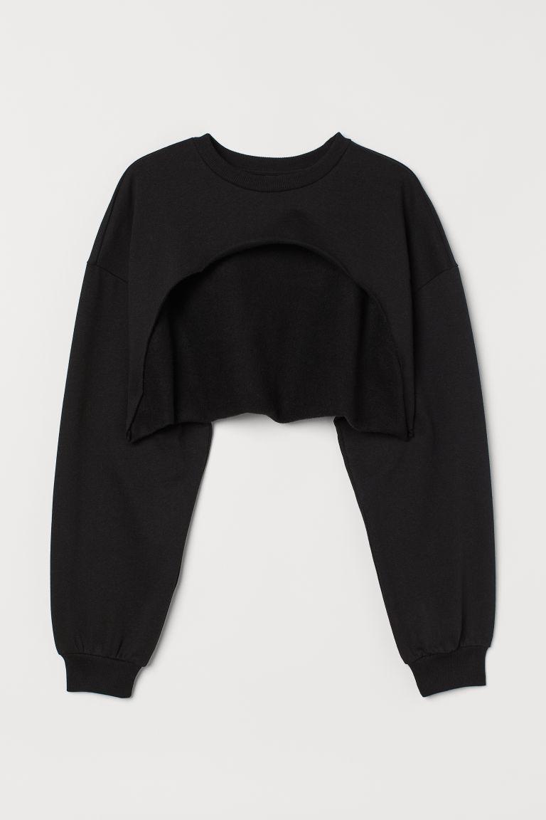 H & M - 短版運動衫 - 黑色