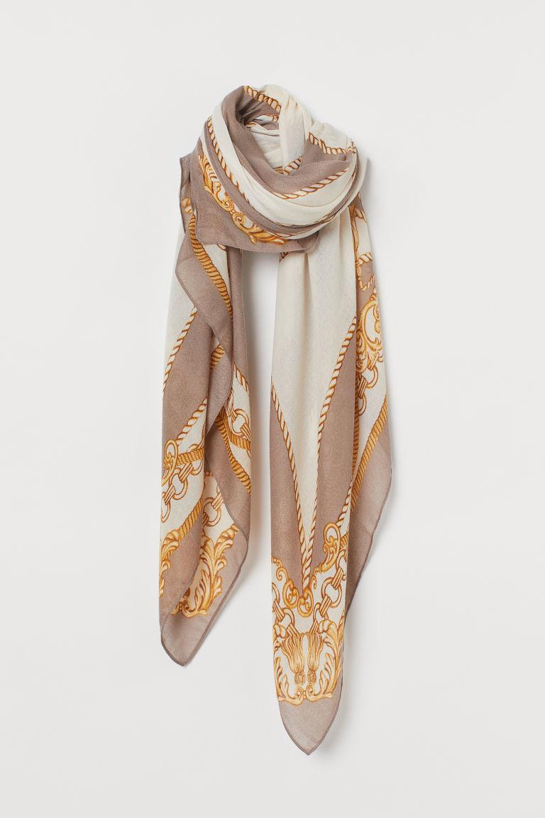 H & M - 印花圍巾 - 褐色