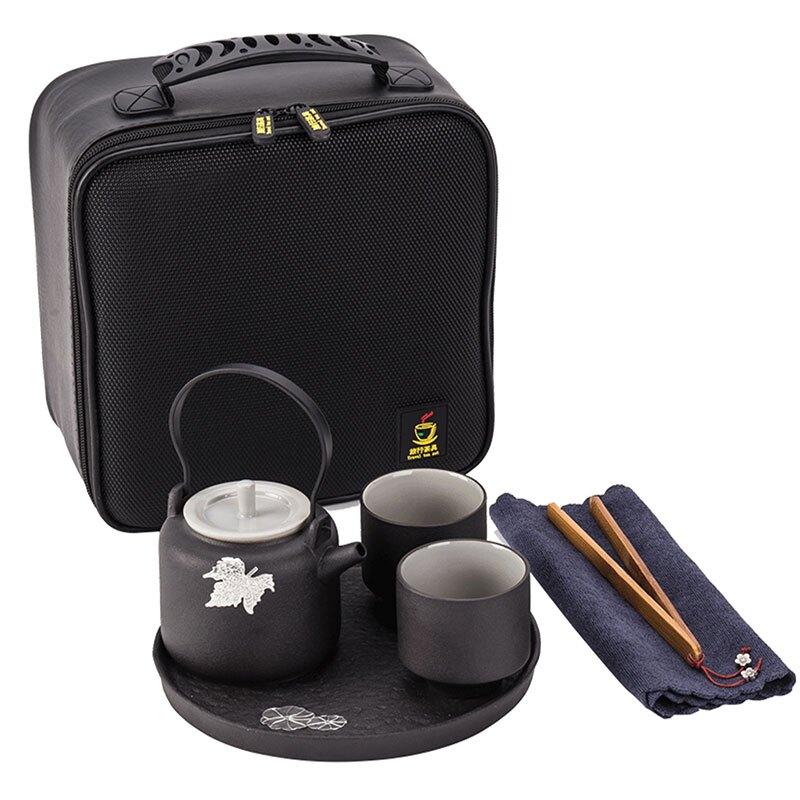 黑陶一壺二杯日式旅行便攜家用功夫茶具套裝陶瓷茶盤提梁茶壺茶杯