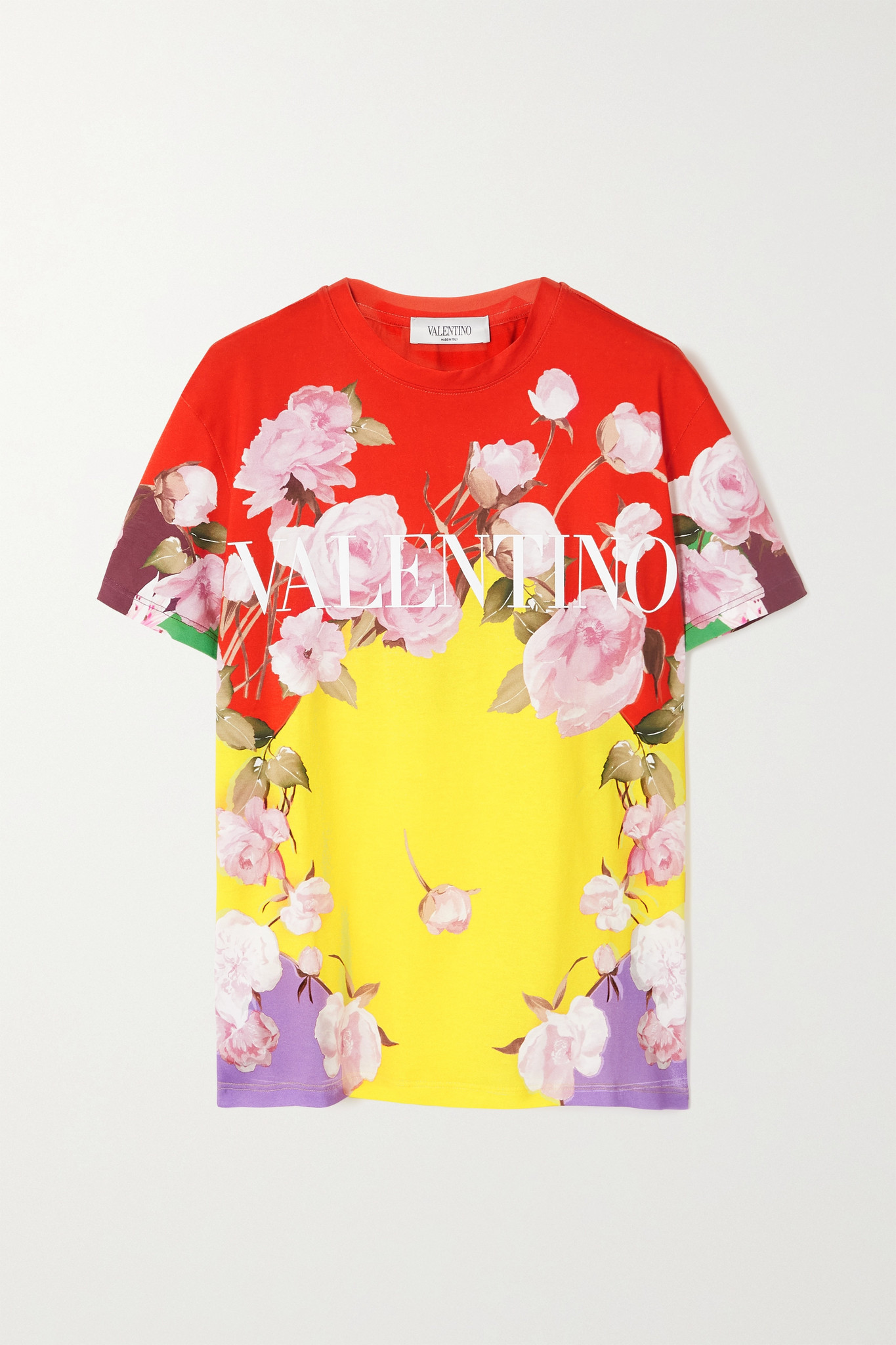 VALENTINO - 印花纯棉平纹布 T 恤 - 黄色 - small