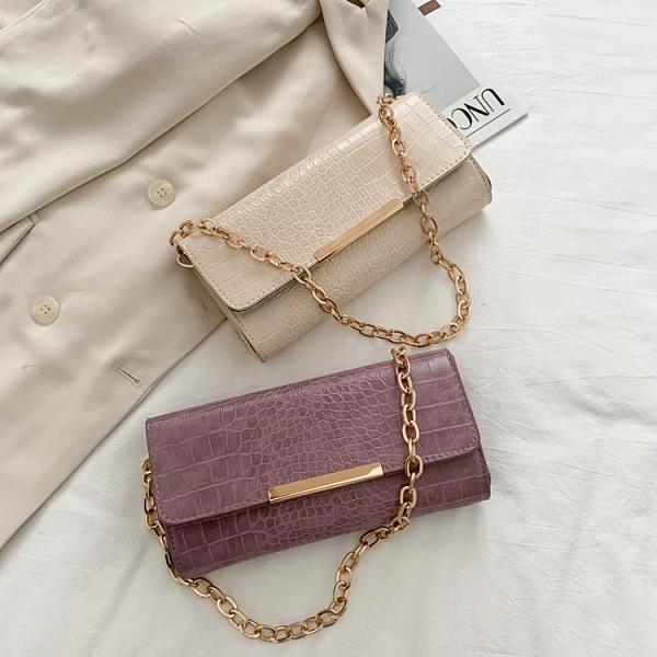 包包女2021春夏新款潮時尚鏈條鱷魚紋小方包法國小眾單肩包腋下包 【端午節特惠】