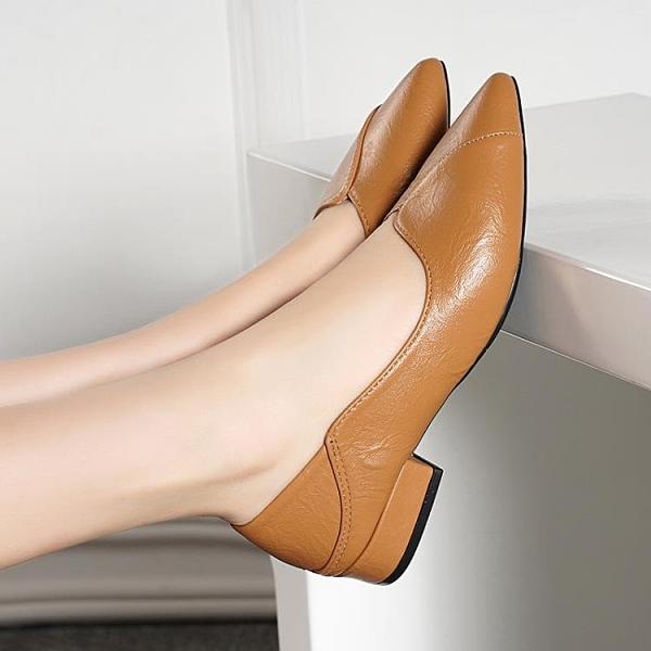 低跟鞋 足意爾康新款真皮女鞋低跟尖頭粗跟平底豆豆百搭女單鞋