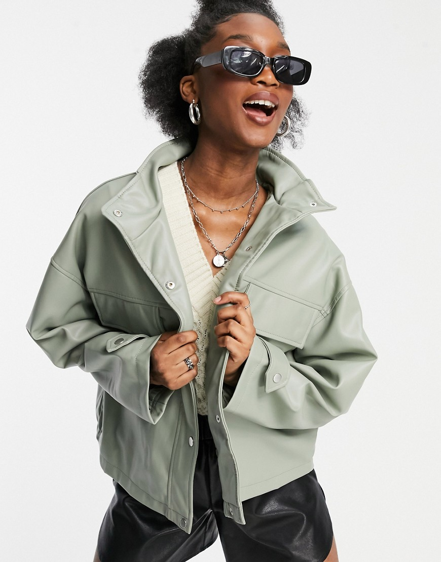 ASOS DESIGN oversized chuck on faux leather jacket in sage-Grey