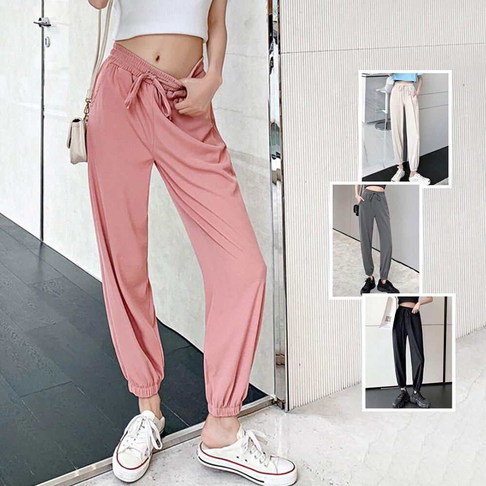 *ORead*薄款寬鬆冰絲運動休閒褲(4色S~2XL)