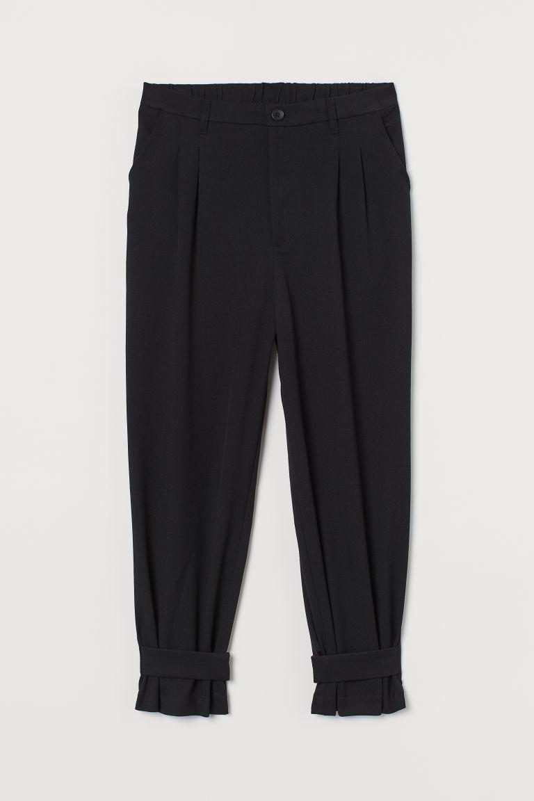 H & M - H & M+ 扣帶寬管褲 - 黑色